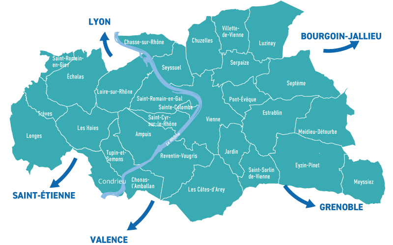 Carte des zones d'implantation